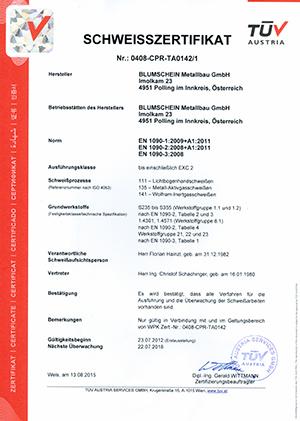 EN 1090-1 Zertifizierung ab 23.07.2012