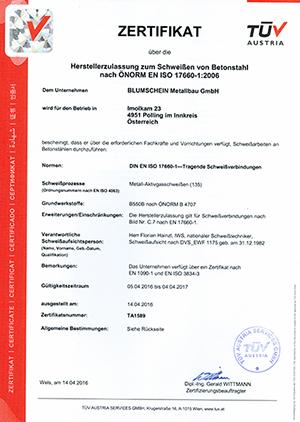 EN ISO 17660 Schweißen v. Betonstahl - Unternehmen verf. ü. Zertif. EN1090-1 u. EN ISO 3834-3