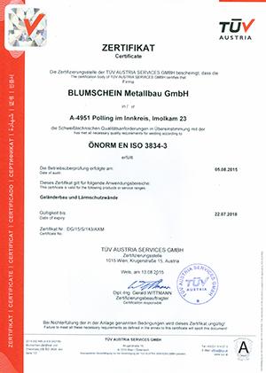 EN ISO 3834-3 Geländerbau und Lärmschutzwände